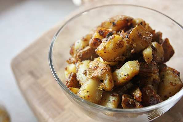Fried breakfast potatoes with poached egg - A Series of Kitchen ...