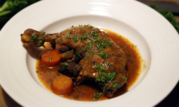 Coq au vin (French braised chicken in red wine)